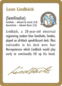 1996 Leon Lindback Biography Card