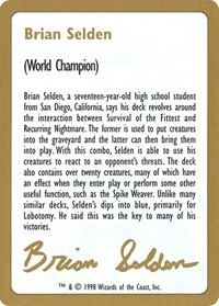 1998 Brian Selden Biography Card