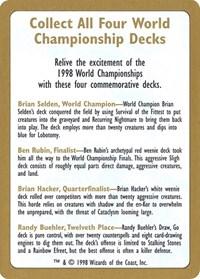 1998 World Championship Advertisement Card