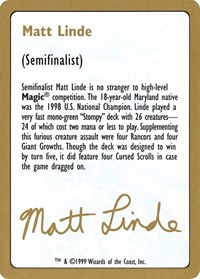 1999 Matt Linde Biography Card