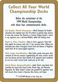 1999 World Championship Advertisement Card