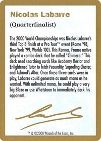 2000 Nicolas Labarre Biography Card