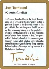 2001 Jan Tomcani Biography Card