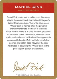 2003 Daniel Zink Biography Card