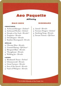 2004 Aeo Paquette Decklist Card