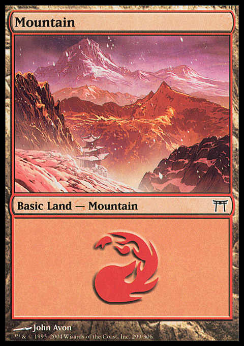 Mountain (299)  card from Champions of Kamigawa