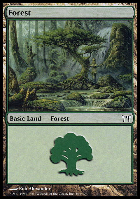 Forest (304) card from Champions of Kamigawa