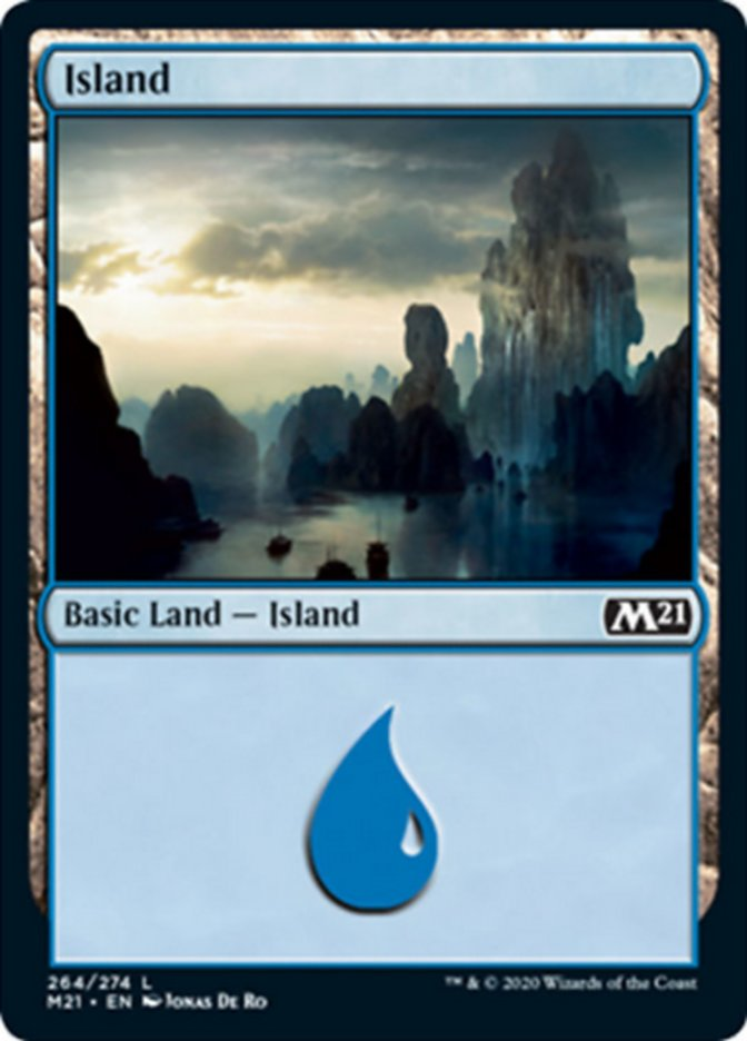 Island (264) card from Core Set 2021