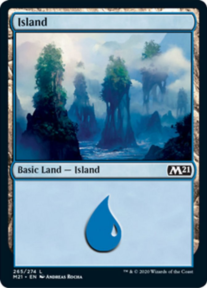 Island (265) card from Core Set 2021