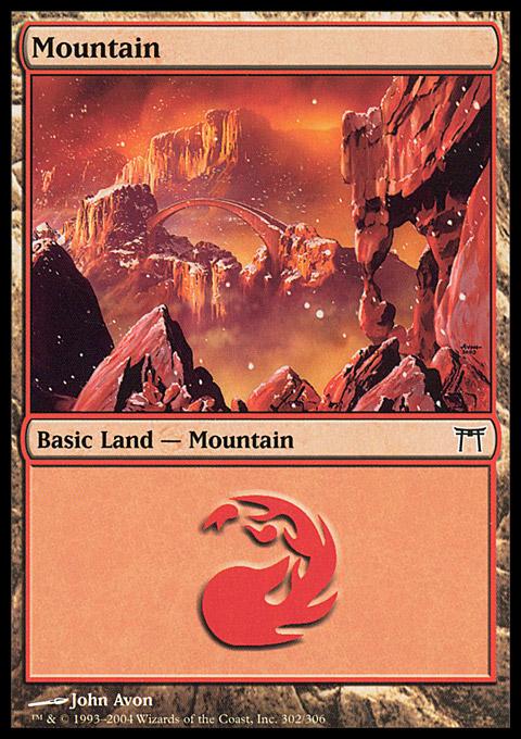 Mountain (302)  card from Champions of Kamigawa