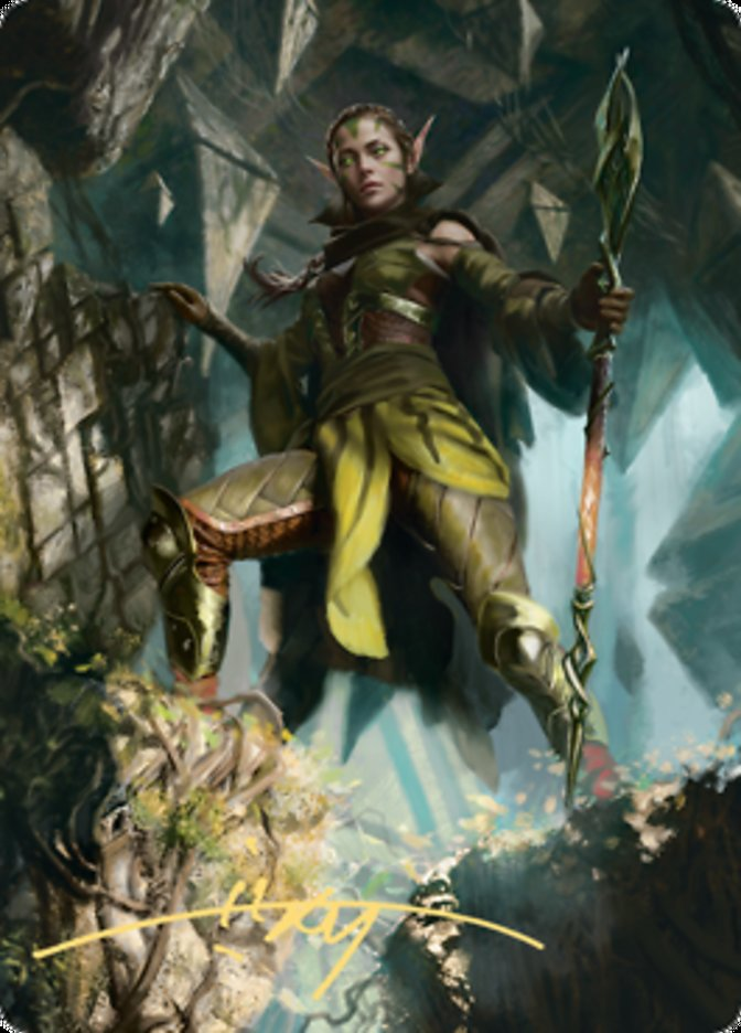 Nissa of Shadowed Boughs Art Card (5/81) (Gold-Stamped Signature)