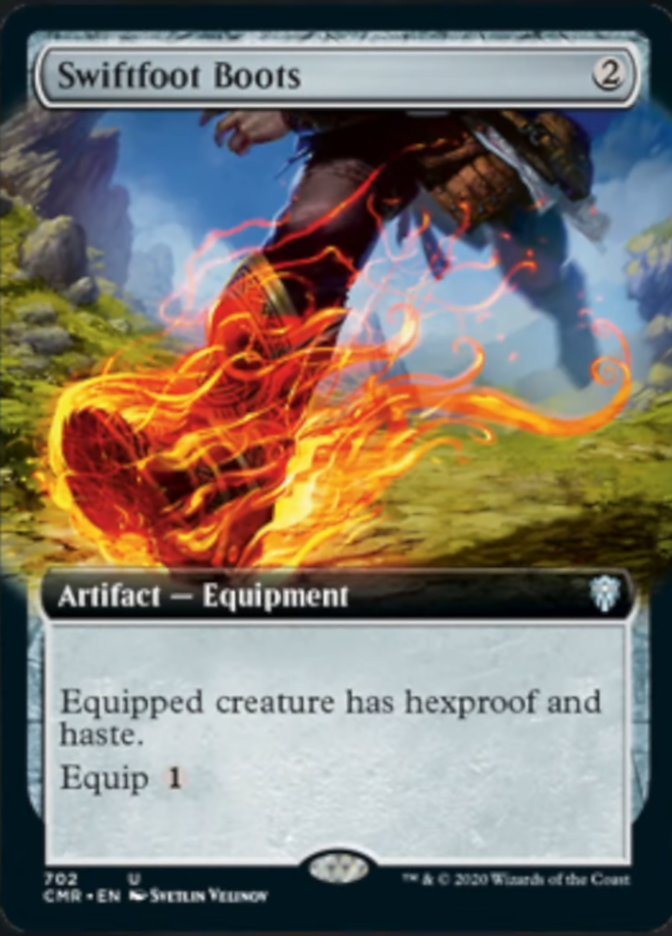 Swiftfoot Boots (Extended Art) card from Commander Legends