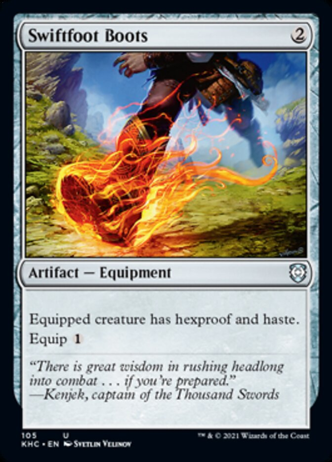 Swiftfoot Boots card from Commander: Kaldheim