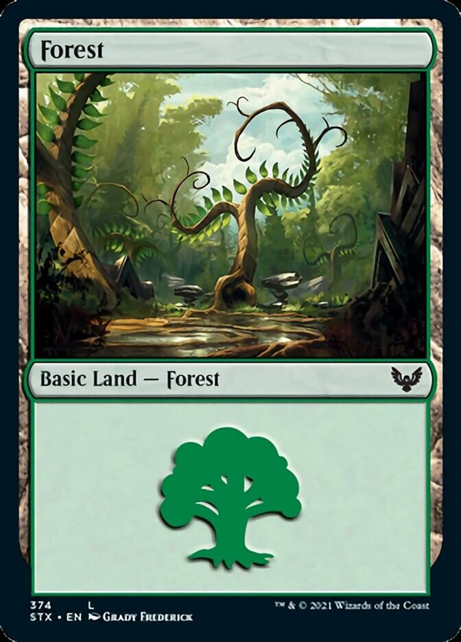 Forest (374) card from Strixhaven: School of Mages