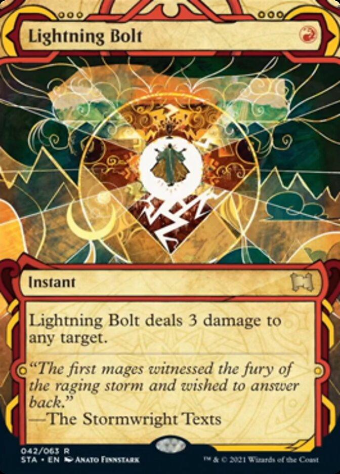 Lightning Bolt (Foil Etched) card from Strixhaven Mystical Archive