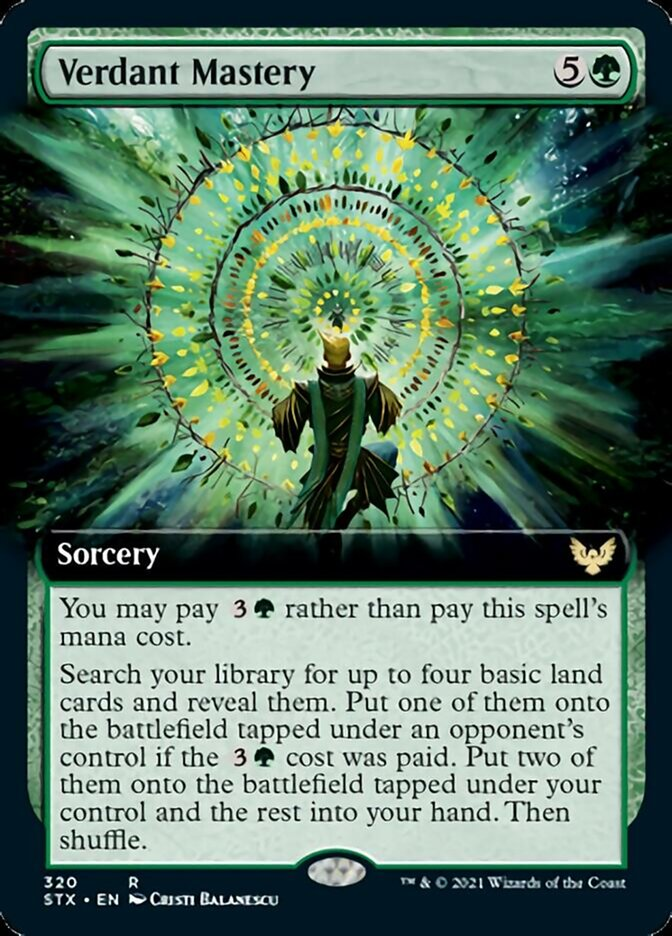 Verdant Mastery (Extended Art) card from Strixhaven: School of Mages