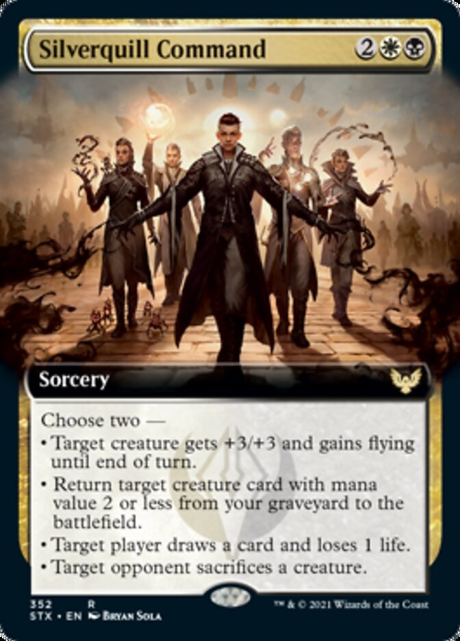 Silverquill Command (Extended Art) card from Strixhaven: School of Mages