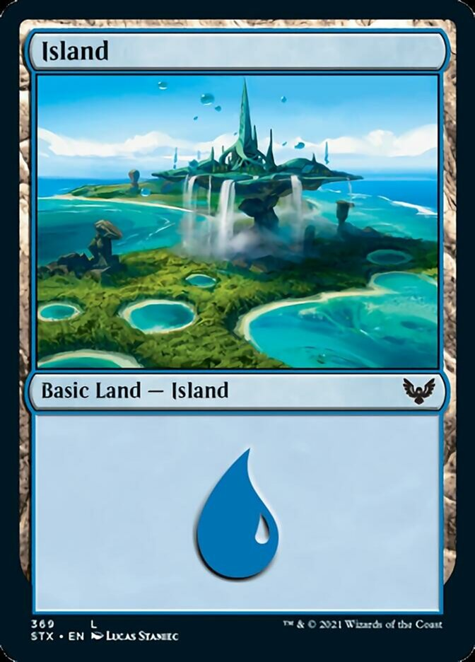 Island (369) card from Strixhaven: School of Mages