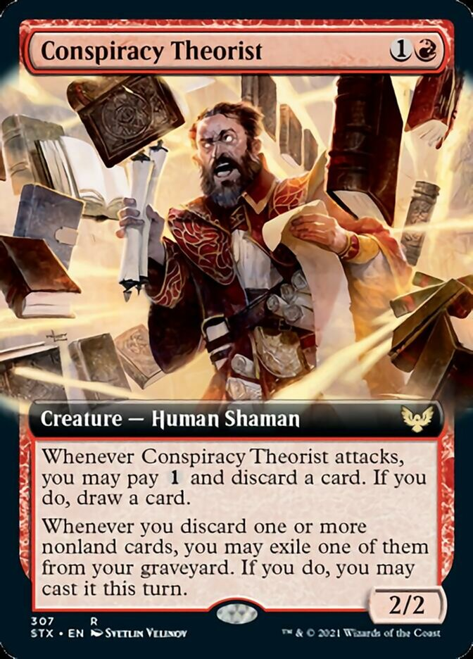 Conspiracy Theorist (Extended Art) card from Strixhaven: School of Mages