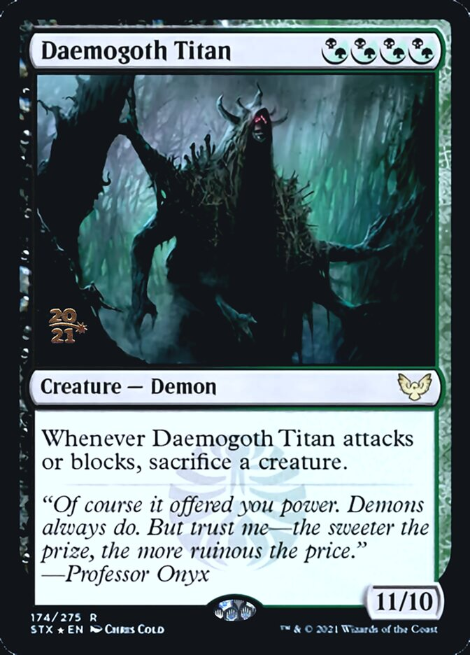 Daemogoth Titan card from Prerelease Cards