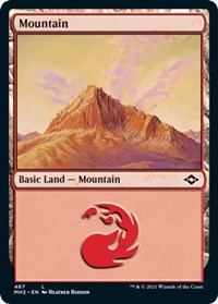 Mountain (487) (Foil Etched) card from Modern Horizons 2