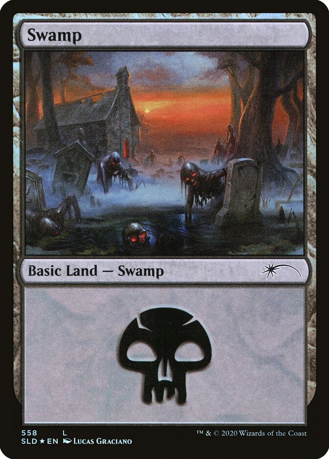 Swamp (558) card from Secret Lair Drop Series