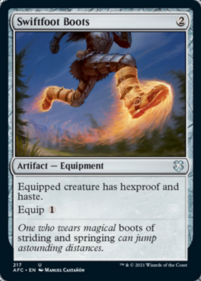 Swiftfoot Boots card from Forgotten Realms Commander