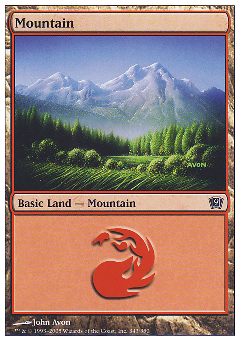 Mountain (343)  card from Ninth Edition