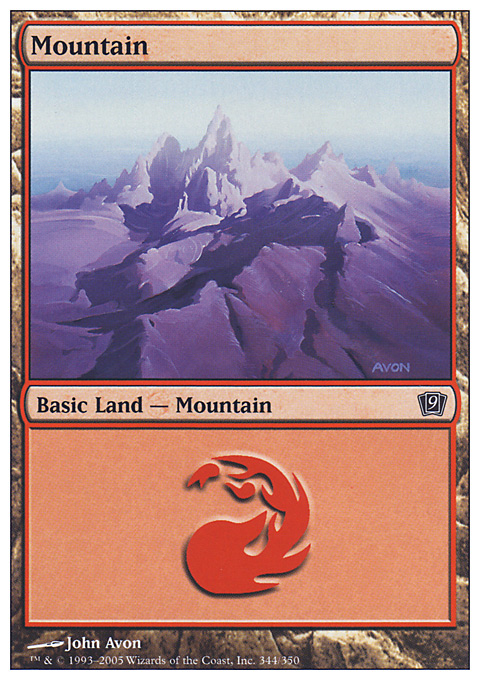 Mountain (344)  card from Ninth Edition