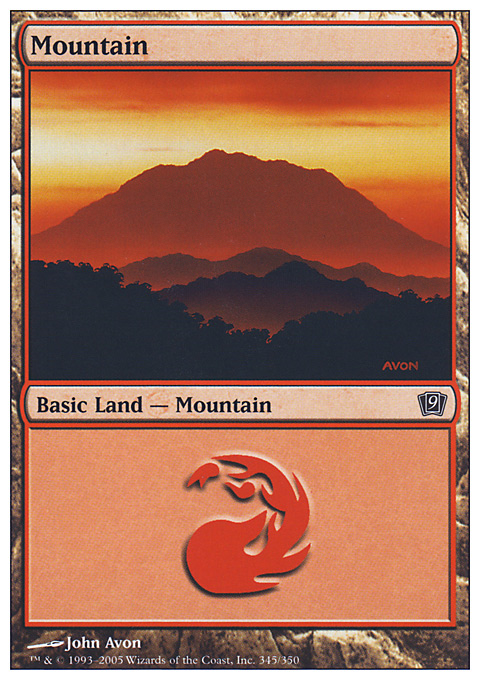 Mountain (345)  card from Ninth Edition