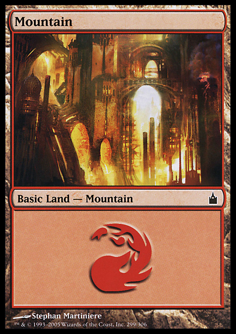 Mountain (299)  card from Ravnica: City of Guilds