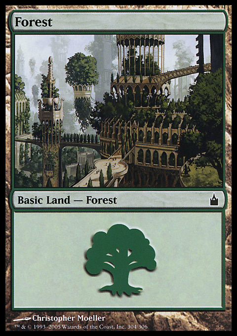 Forest (304) card from Ravnica: City of Guilds