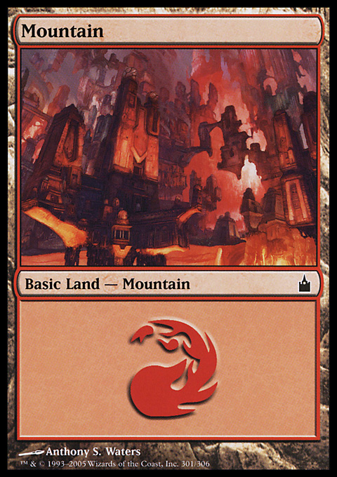 Mountain (301)  card from Ravnica: City of Guilds