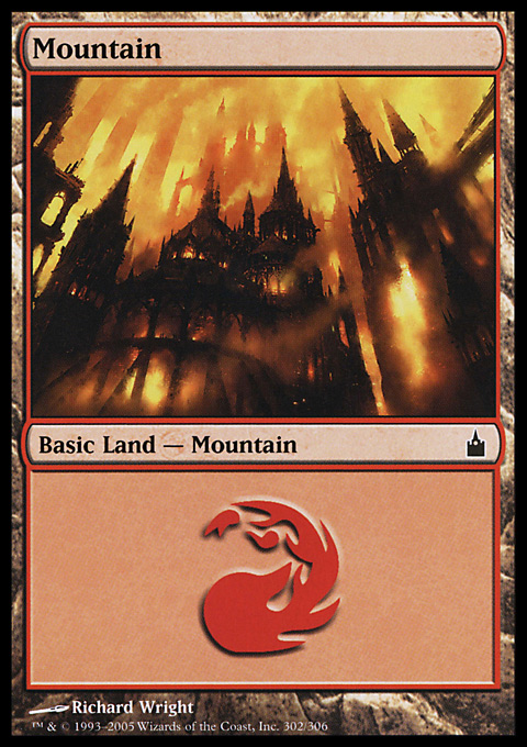 Mountain (302)  card from Ravnica: City of Guilds