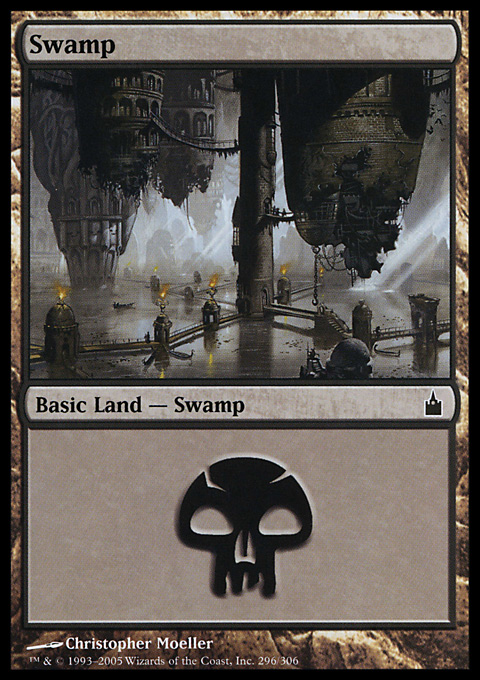 Swamp (296)  card from Ravnica: City of Guilds