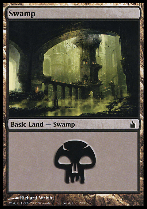 Swamp (298)  card from Ravnica: City of Guilds