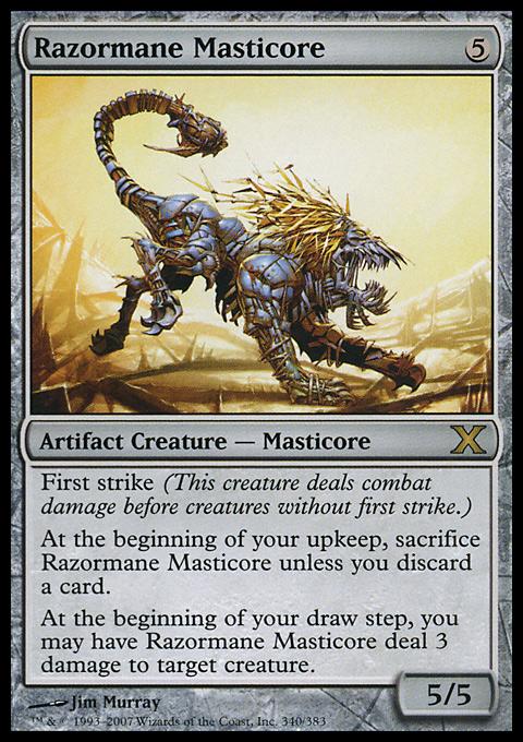 Razormane Masticore card from Tenth Edition