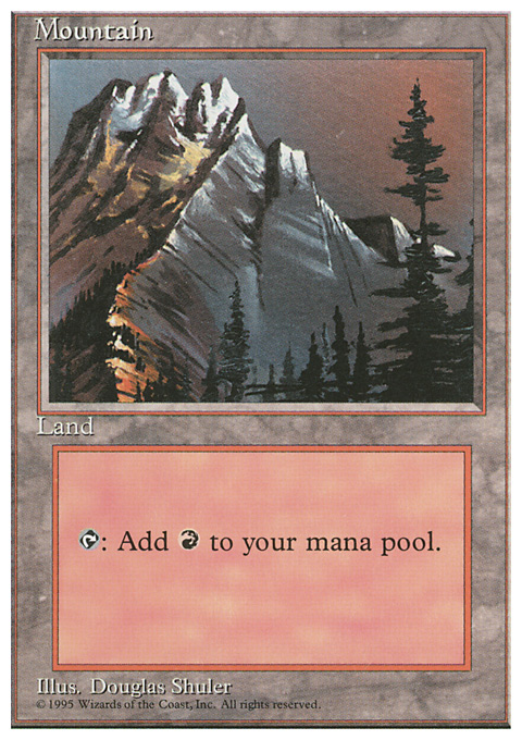 Mountain (A) card from Fourth Edition