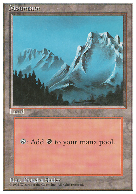 Mountain (B) card from Fourth Edition