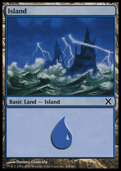 Island (368)  card from Tenth Edition