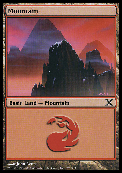 Mountain (376)  card from Tenth Edition