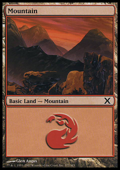 Mountain (377)  card from Tenth Edition
