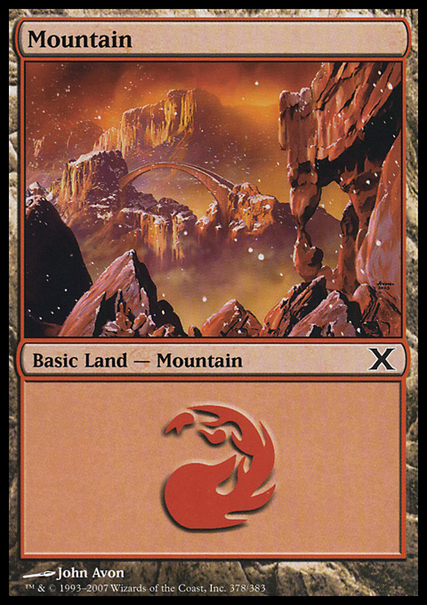 Mountain (378)  card from Tenth Edition