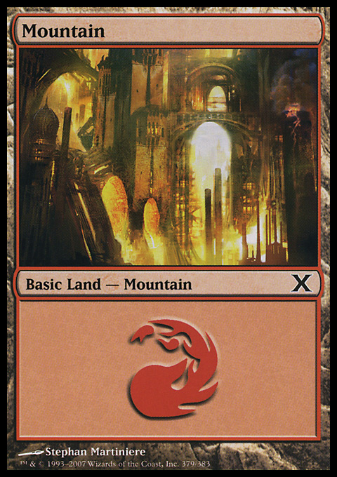 Mountain (379)  card from Tenth Edition