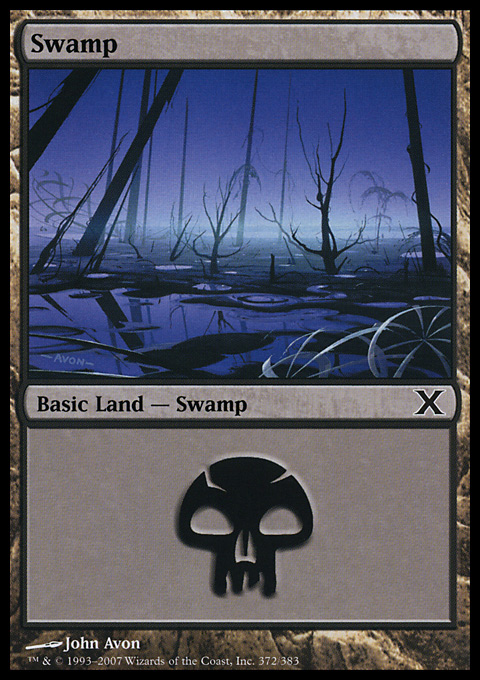 Swamp (372)  card from Tenth Edition