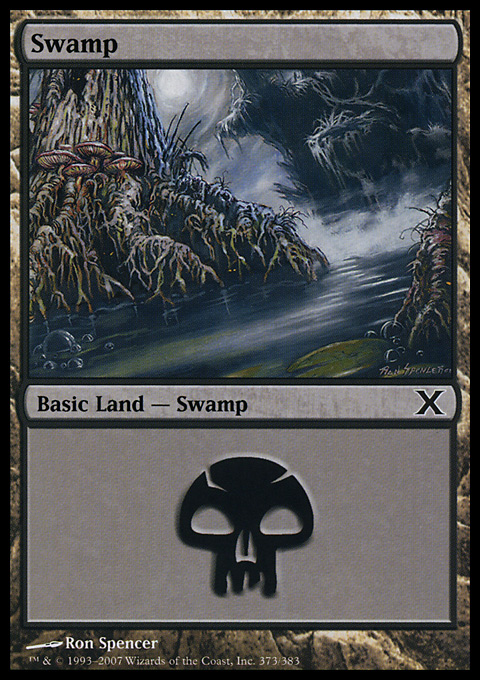 Swamp (373)  card from Tenth Edition