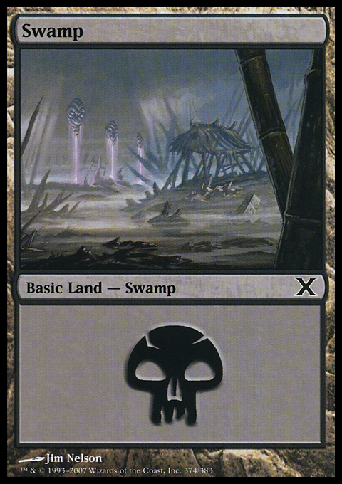 Swamp (374)  card from Tenth Edition