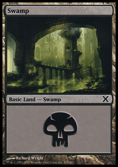 Swamp (375)  card from Tenth Edition