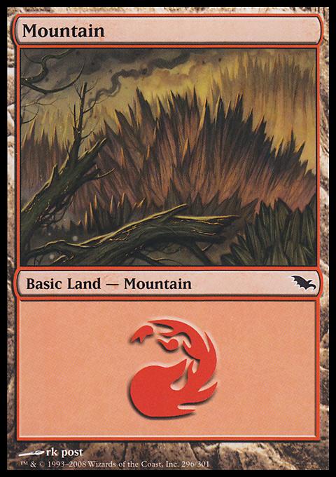 Mountain (296)  card from Shadowmoor