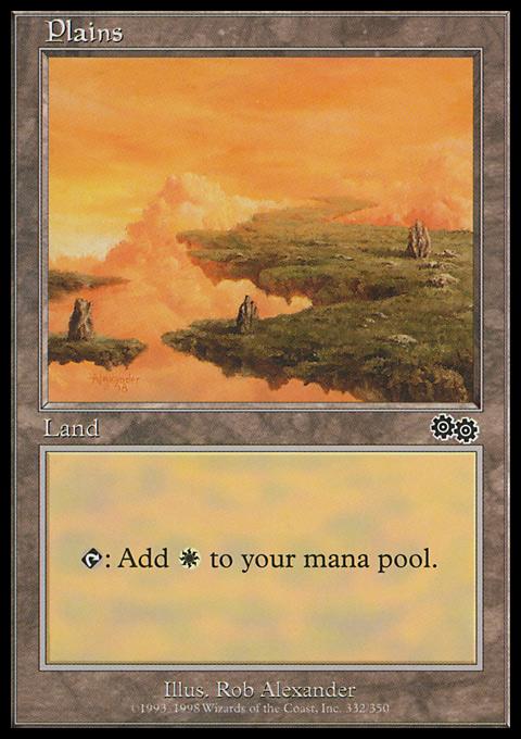 Plains (332)  card from Urza's Saga